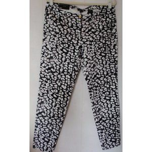 H&M BLACK WHITE ABSTRACT LOW RISE SLIM JEANS 14